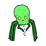 可笑的动画片鬼的头骨蜘蛛 免版税库存照片