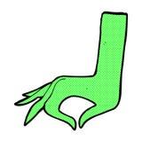 可笑的动画片绿色手标志 免版税库存图片