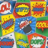 可笑的无缝的背景 与讲话泡影和炸弹的流行艺术减速火箭的样式 漫画书设计的背景  向量 库存照片