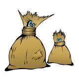 可笑的漫画人物逗人喜爱的家庭大袋,传染媒介illustr 库存图片