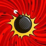 可笑的炸弹爆炸 炸药,有火的圆的炮弹 外籍动画片猫逃脱例证屋顶向量 向量例证