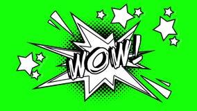 可笑的生气蓬勃的词哇 绿色屏幕 向量例证