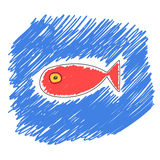 可笑的红色鱼 库存照片