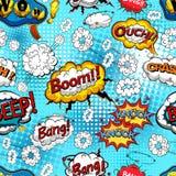 可笑的讲话起泡与爆炸和音响效果的无缝的样式 向量 向量例证