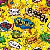 可笑的讲话起泡与黄色背景传染媒介的无缝的样式 向量例证