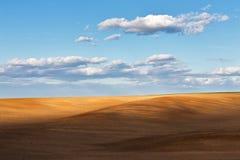 可耕的领域在蓝色多云天空下 库存图片