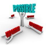 可能对不可能的人举词优胜者成功 库存例证