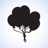 可膨胀的气球 得出花卉草向量的背景 免版税图库摄影