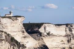 可西嘉岛, Bonifacio,灯塔, Bonifacio,海滩,地中海,石灰石,峭壁,岩石, Bouches de Bonifacio海峡  库存图片