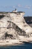 可西嘉岛, Bonifacio,灯塔, Bonifacio,海滩,地中海,石灰石,峭壁,岩石, Bouches de Bonifacio海峡  库存照片