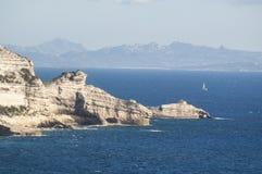 可西嘉岛, Bonifacio, Bonifacio,地中海,风船,峭壁,岩石, Bouches de Bonifacio海峡  库存图片