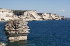 可西嘉岛, Bonifacio, Bonifacio,海滩,地中海,石灰石,峭壁,岩石, Bouches de Bonifacio海峡  图库摄影