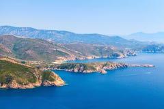 可西嘉岛 Corse du Sud,皮亚纳地区在夏天 库存图片