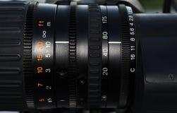 可调整的摄象机镜头特写镜头  免版税库存图片