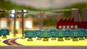 可选择能源太阳能电池在城市 免版税图库摄影