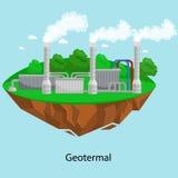 可选择能源电力工业,在一个绿草生态概念的geotermal发电站工厂电 向量例证