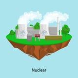 可选择能源电力工业,核发电站在一个绿草生态概念的工厂电 库存例证