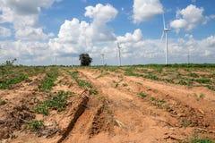 可选择能源的风轮机在背景天空 库存照片