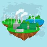 可选择能源金钱的力量、环境救球、可更新的涡轮能量、风和太阳生态的概念 库存例证