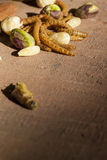 可食的昆虫和坚果 免版税库存照片