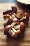 可食的蘑菇在早晨光的一张木桌上说谎 库存图片