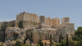 31可以2016年-上城在希腊的雅典有在远处游人的-时间间隔 股票录像