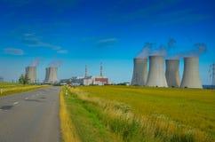 可更新的绿色能量的概念:一棵雏菊和草在残破的核能的标志 免版税库存图片