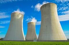 可更新的绿色能量的概念:一棵雏菊和草在残破的核能的标志 免版税图库摄影