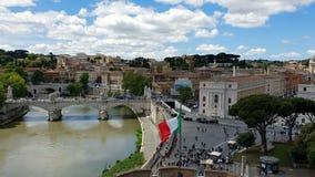 台伯河河的看法从高度的 从Castel桑特'安吉洛的看法向罗马和台伯河河 股票视频