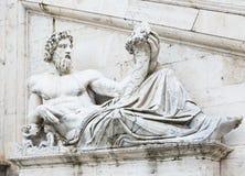台伯河河雕塑Capitolium的由米开朗基罗计划了在罗马 库存照片