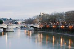 台伯河的美丽的罗马 库存照片