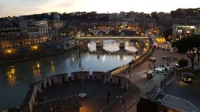 台伯河,反射,夜,城市,都市风景 免版税图库摄影
