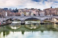 台伯河Ponte桥梁维托里奥Emanuele III罗马意大利 图库摄影
