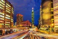 台北中央在晚上,台湾 免版税库存照片
