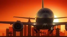 台北台湾飞机离开地平线金黄背景