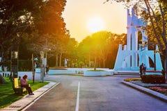 台北在日落期间的商展公园 图库摄影
