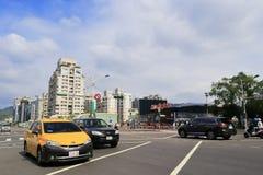 台北都市风景在多云天 免版税库存图片