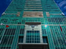台北101塔,从塔的前面看法 库存照片