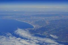 台尔Monte Forest, Pebble海滩鸟瞰图  图库摄影