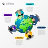 台式视图业务会议 infographic概念 免版税图库摄影