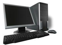 台式计算机和键盘在背景 图库摄影
