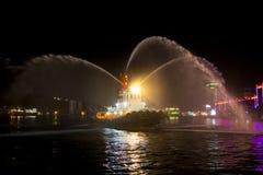 台湾基隆港,拖引船,口哨喷洒水体,庆祝节日, 库存图片