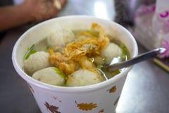 台湾快餐,冬天粉末,鱼丸汤,旗鱼,鱼丸汤, 库存图片