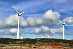 台湾的澎湖群岛覆盖风车 库存图片