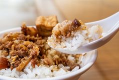 台湾著名食物-被炖的猪肉和油煎的豆腐在米 大豆被炖的猪肉米,台湾纤巧 免版税库存照片