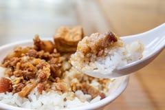 台湾著名食物-被炖的猪肉和油煎的豆腐在米 大豆被炖的猪肉米,台湾纤巧 免版税图库摄影