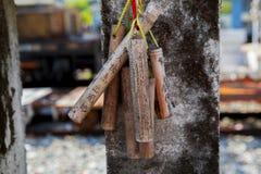 台湾,观光的斑点,瑞芳猴子洞,猫村庄,保佑墙壁,祷告竹子 免版税库存照片