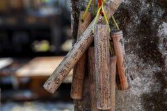 台湾,观光的斑点,瑞芳猴子洞,猫村庄,保佑墙壁,祷告竹子 库存照片