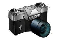 2台照相机数字式查出的照片支持白色 礼物 免版税库存照片