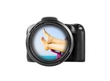 2台照相机数字式查出的照片支持白色 库存图片